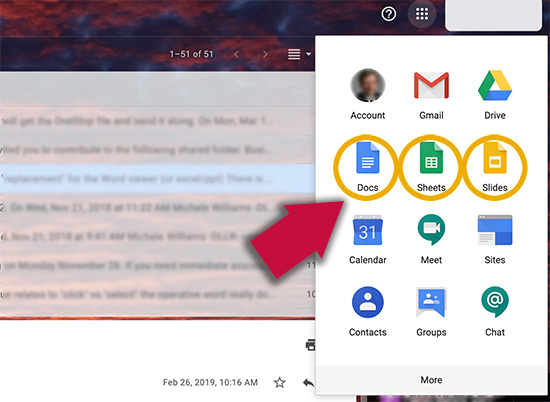 screen shot showing that Google's apps are located at the top right of the Gmail screen