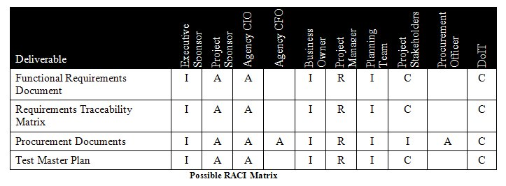 Possible RACI Matrix