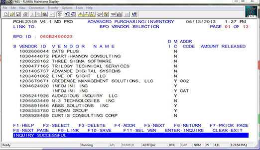 ADPICS BPO screen