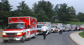 ambulances lined up in a row