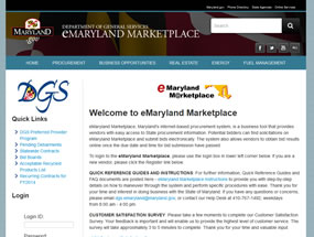 eMaryland Marketplace Home Page