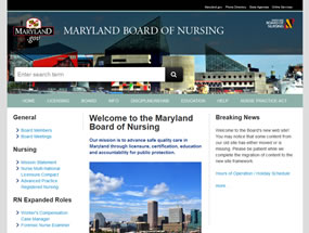 Maryland Board of Nursing Home Page